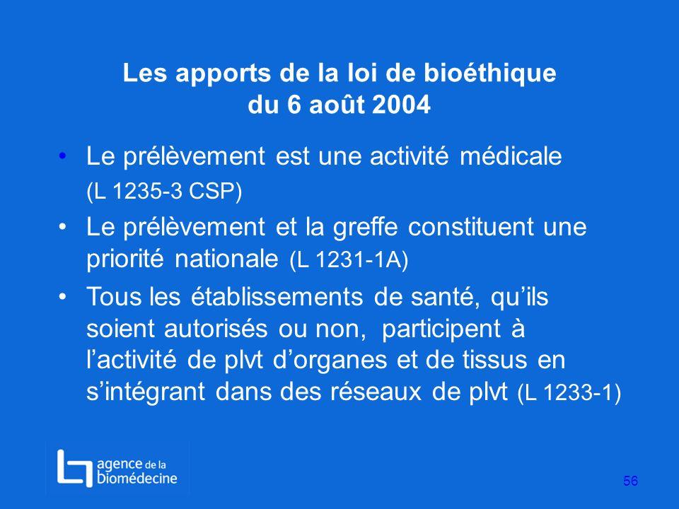 Les apports de la loi de bioéthique du 6 août 2004 Le prélèvement est une activité médicale (L 1235-3 CSP) Le prélèvement et la greffe constituent une