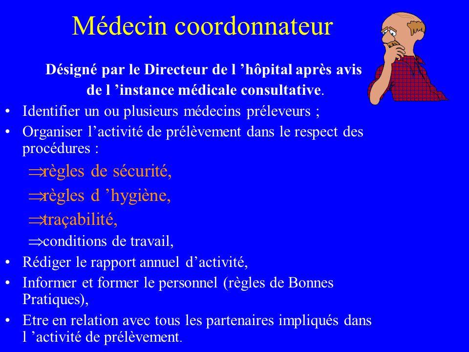 Médecin coordonnateur Désigné par le Directeur de l hôpital après avis de l instance médicale consultative. Identifier un ou plusieurs médecins prélev