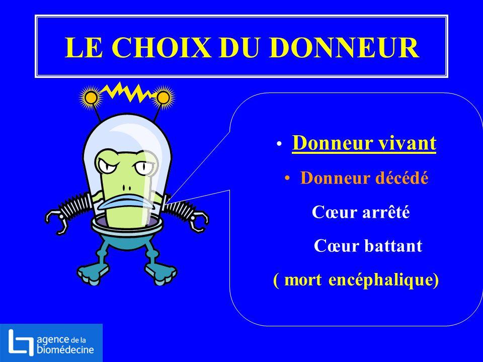 LE CHOIX DU DONNEUR Donneur vivant Donneur décédé Cœur arrêté Cœur battant ( mort encéphalique)