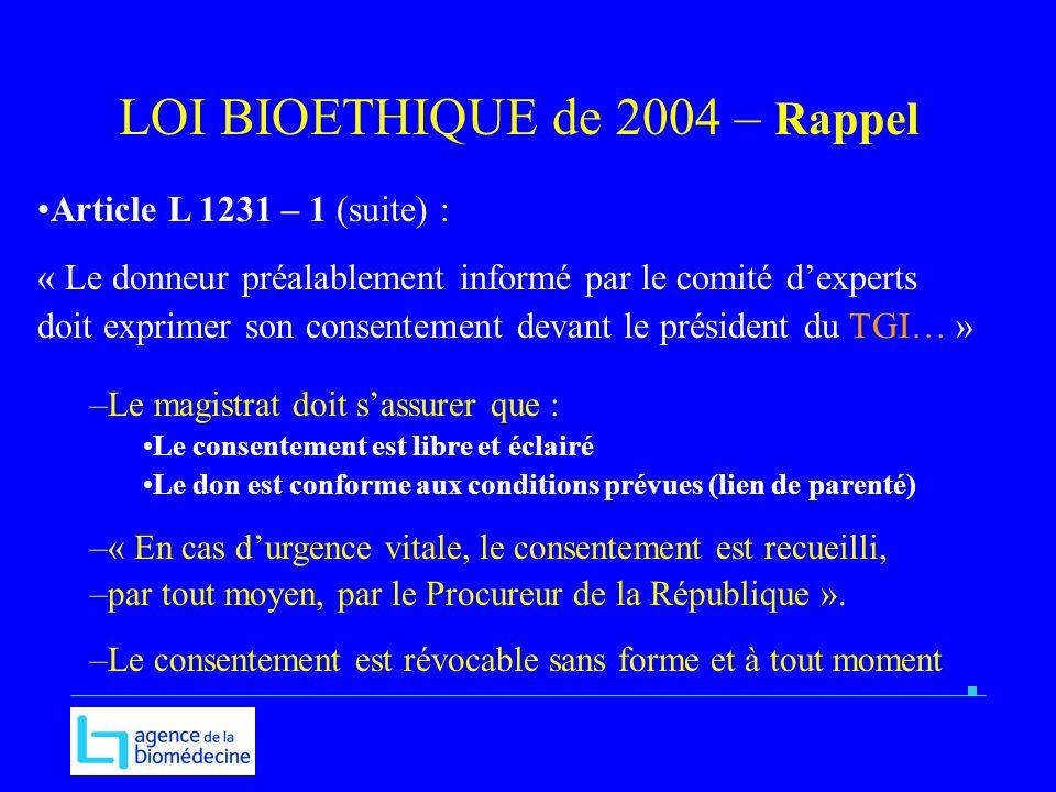 Article L 1231 – 1 (suite) : « Le donneur préalablement informé par le comité dexperts doit exprimer son consentement devant le président du TGI… » –L
