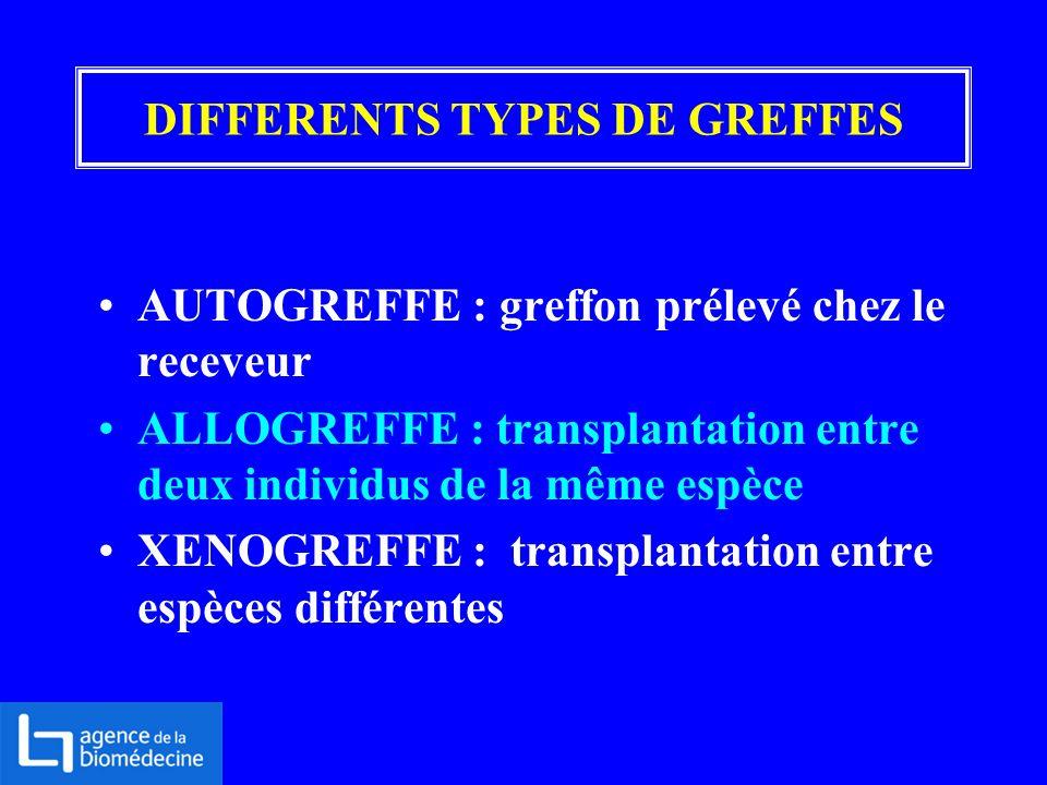 DIFFERENTS TYPES DE GREFFES AUTOGREFFE : greffon prélevé chez le receveur ALLOGREFFE : transplantation entre deux individus de la même espèce XENOGREF