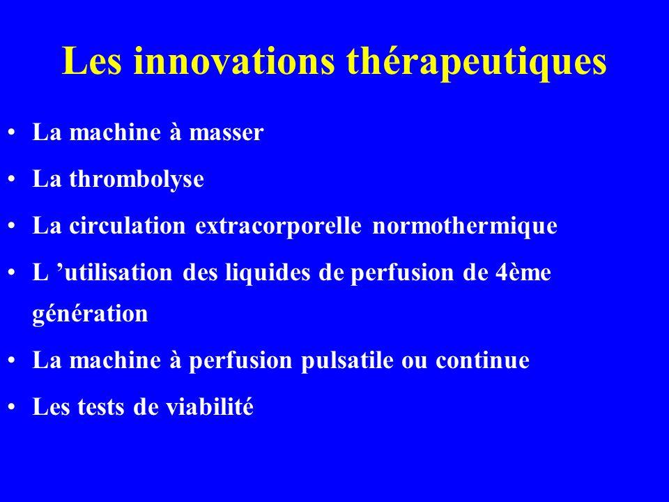 Les innovations thérapeutiques La machine à masser La thrombolyse La circulation extracorporelle normothermique L utilisation des liquides de perfusio