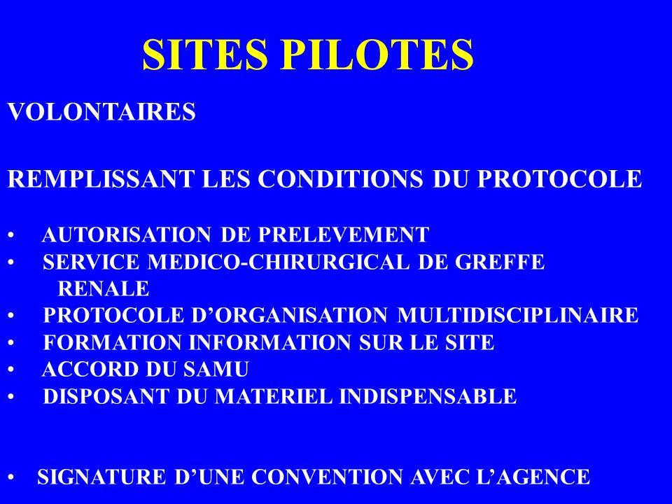 SITES PILOTES VOLONTAIRES REMPLISSANT LES CONDITIONS DU PROTOCOLE AUTORISATION DE PRELEVEMENT SERVICE MEDICO-CHIRURGICAL DE GREFFE RENALE PROTOCOLE DO