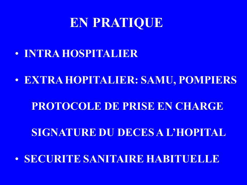 EN PRATIQUE INTRA HOSPITALIER EXTRA HOPITALIER: SAMU, POMPIERS PROTOCOLE DE PRISE EN CHARGE SIGNATURE DU DECES A LHOPITAL SECURITE SANITAIRE HABITUELL