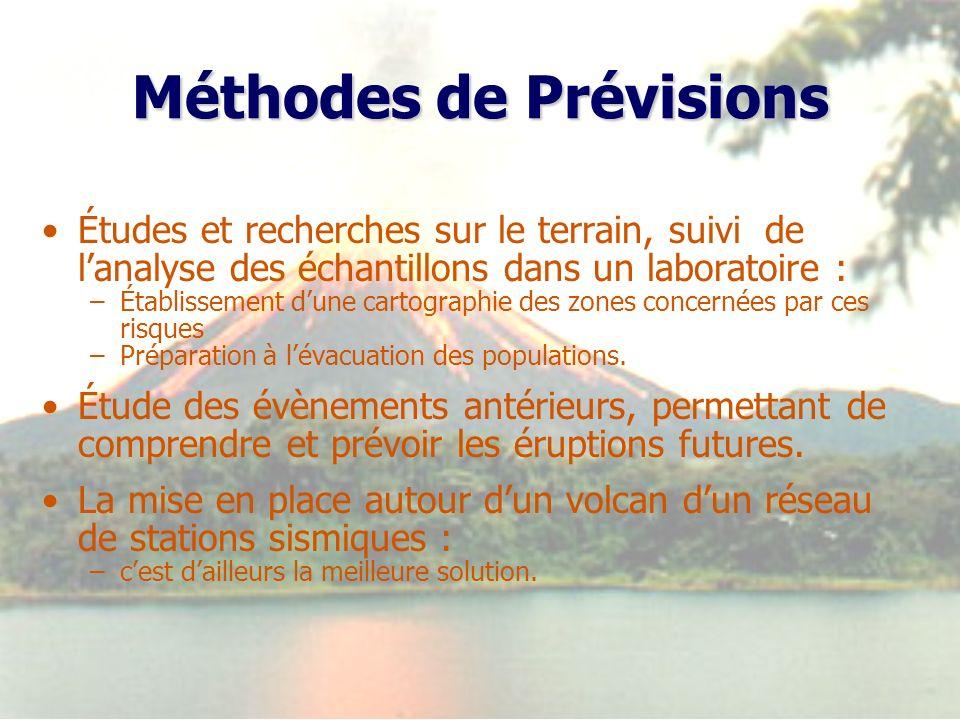 Méthodes de Prévisions Études et recherches sur le terrain, suivi de lanalyse des échantillons dans un laboratoire : –Établissement dune cartographie