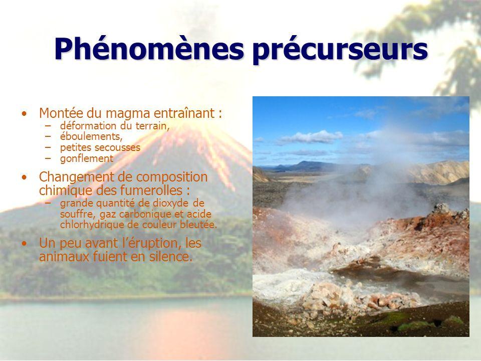 Phénomènes précurseurs Montée du magma entraînant : –déformation du terrain, –éboulements, –petites secousses –gonflement Changement de composition ch