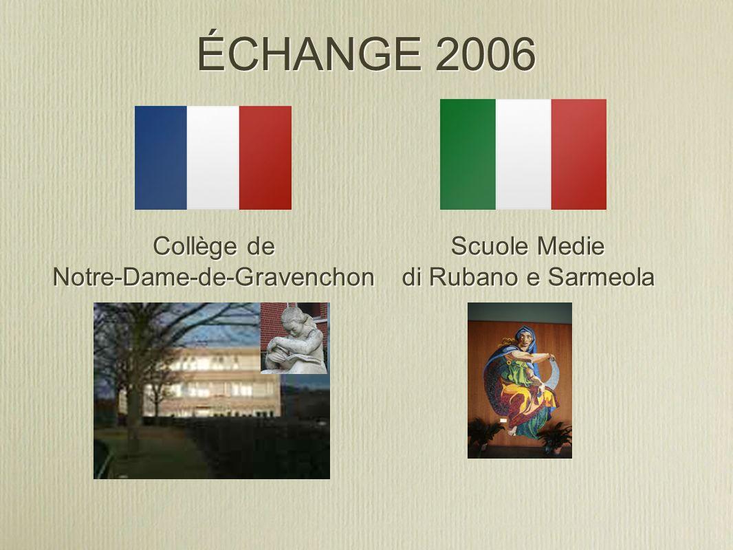 ÉCHANGE 2006 Collège de Notre-Dame-de-Gravenchon Collège de Notre-Dame-de-Gravenchon Scuole Medie di Rubano e Sarmeola Scuole Medie di Rubano e Sarmeo