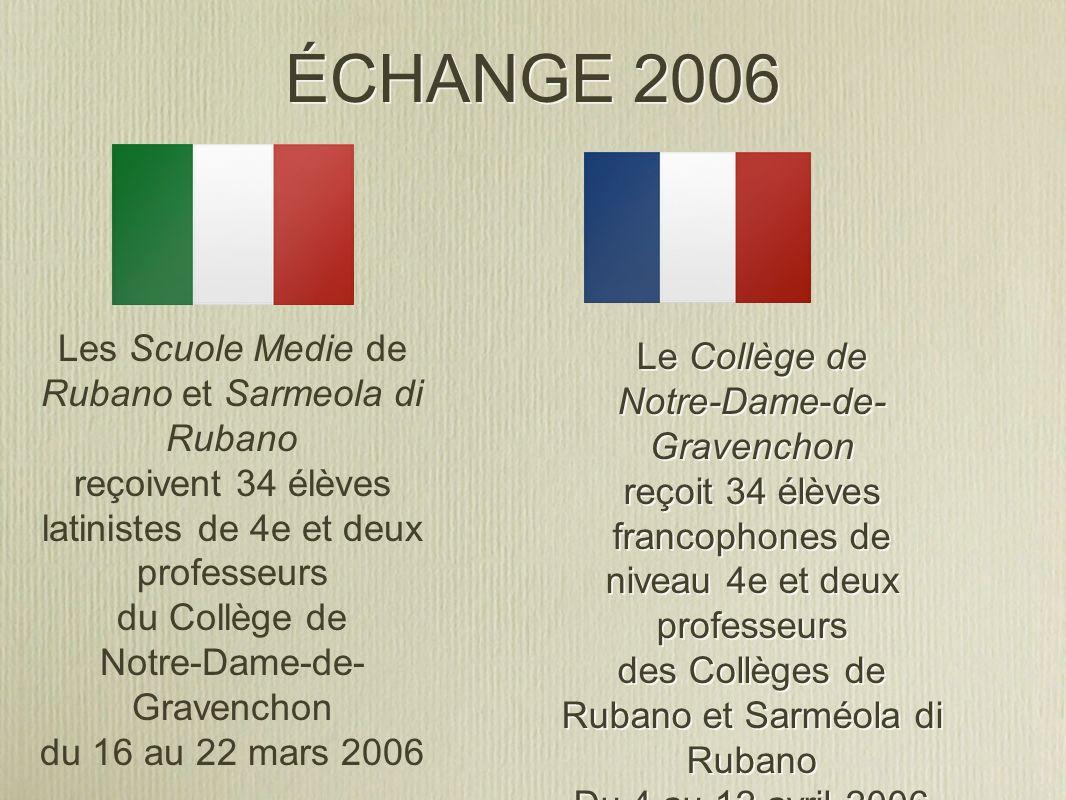 ÉCHANGE 2006 Le Collège de Notre-Dame-de- Gravenchon reçoit 34 élèves francophones de niveau 4e et deux professeurs des Collèges de Rubano et Sarméola