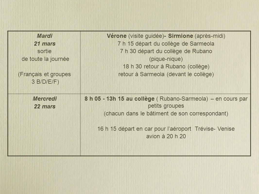 Mardi 21 mars sortie de toute la journée (Français et groupes 3 B/D/E/F) Vérone (visite guidée)- Sirmione (après-midi) 7 h 15 départ du collège de Sarmeola 7 h 30 départ du collège de Rubano (pique-nique) 18 h 30 retour à Rubano (collège) retour à Sarmeola (devant le collège) Mercredi 22 mars 8 h 05 - 13h 15 au collège ( Rubano-Sarmeola) – en cours par petits groupes (chacun dans le bâtiment de son correspondant) 16 h 15 départ en car pour laéroport Trévise- Venise avion à 20 h 20