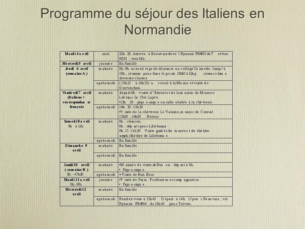 Programme du séjour des Italiens en Normandie