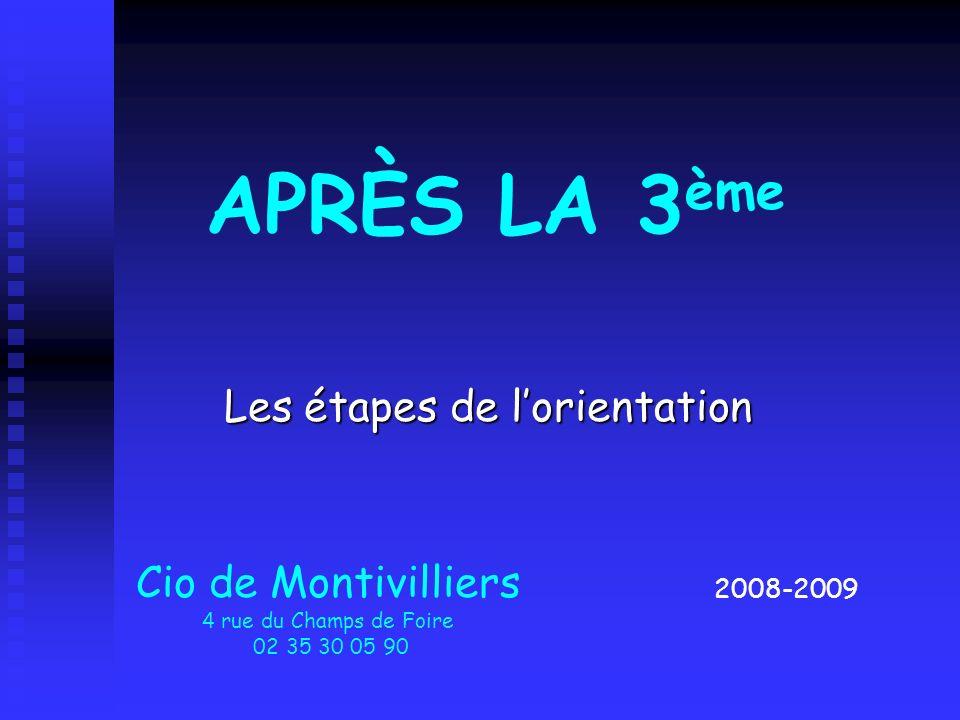 Les étapes de lorientation 2008-2009 Cio de Montivilliers 4 rue du Champs de Foire 02 35 30 05 90 APRÈS LA 3 ème