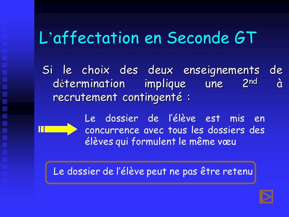 L affectation en Seconde GT Si le choix des deux enseignements de d é termination implique une 2 nd à recrutement contingenté : Le dossier de lélève e