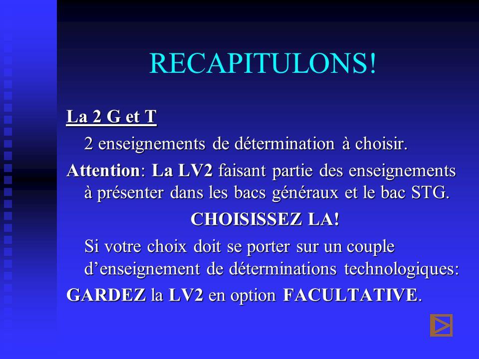 RECAPITULONS! La 2 G et T 2 enseignements de détermination à choisir. Attention: La LV2 faisant partie des enseignements à présenter dans les bacs gén
