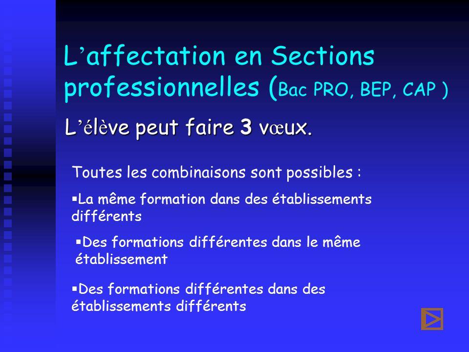 L affectation en Sections professionnelles ( Bac PRO, BEP, CAP ) L é l è ve peut faire 3 v œ ux. Toutes les combinaisons sont possibles : La même form