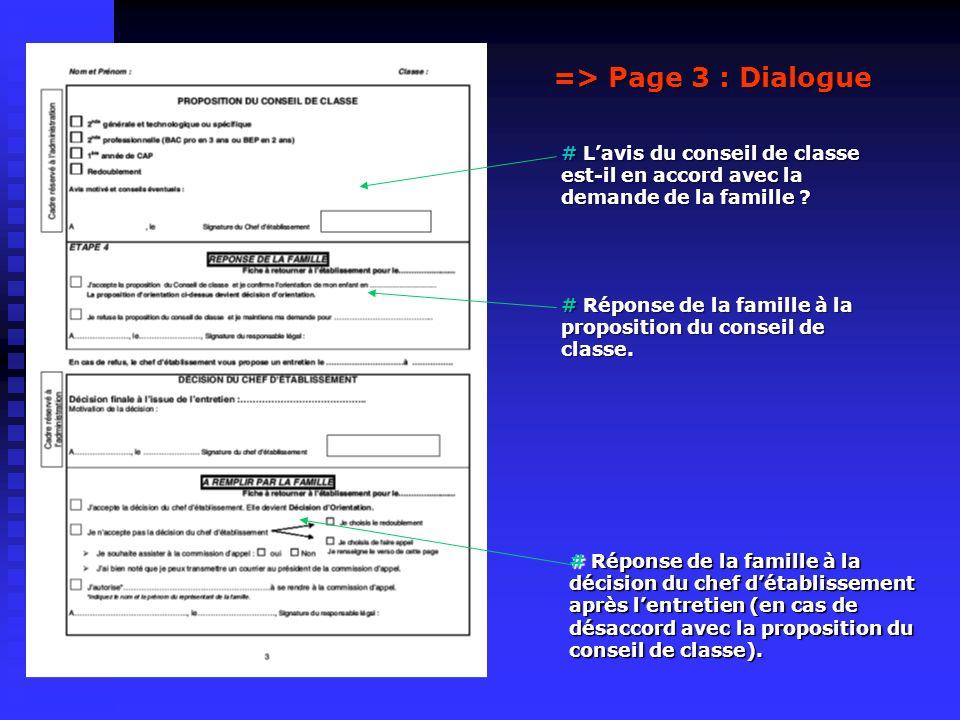 => Page 3 : Dialogue # Lavis du conseil de classe est-il en accord avec la demande de la famille ? # Réponse de la famille à la proposition du conseil