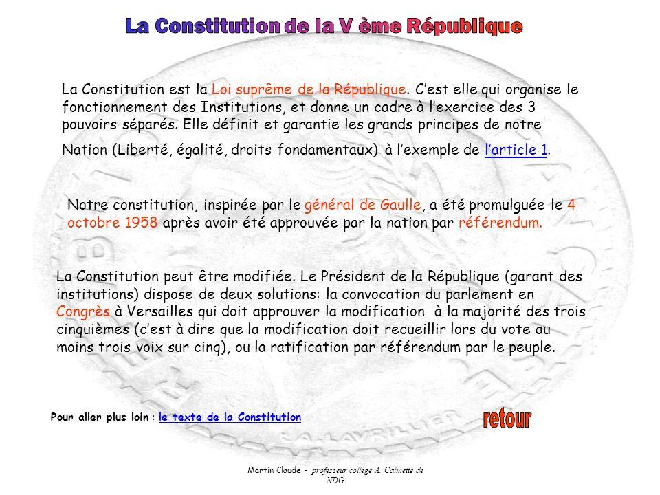 Martin Claude - professeur collège A. Calmette de NDG La Constitution est la Loi suprême de la République. Cest elle qui organise le fonctionnement de