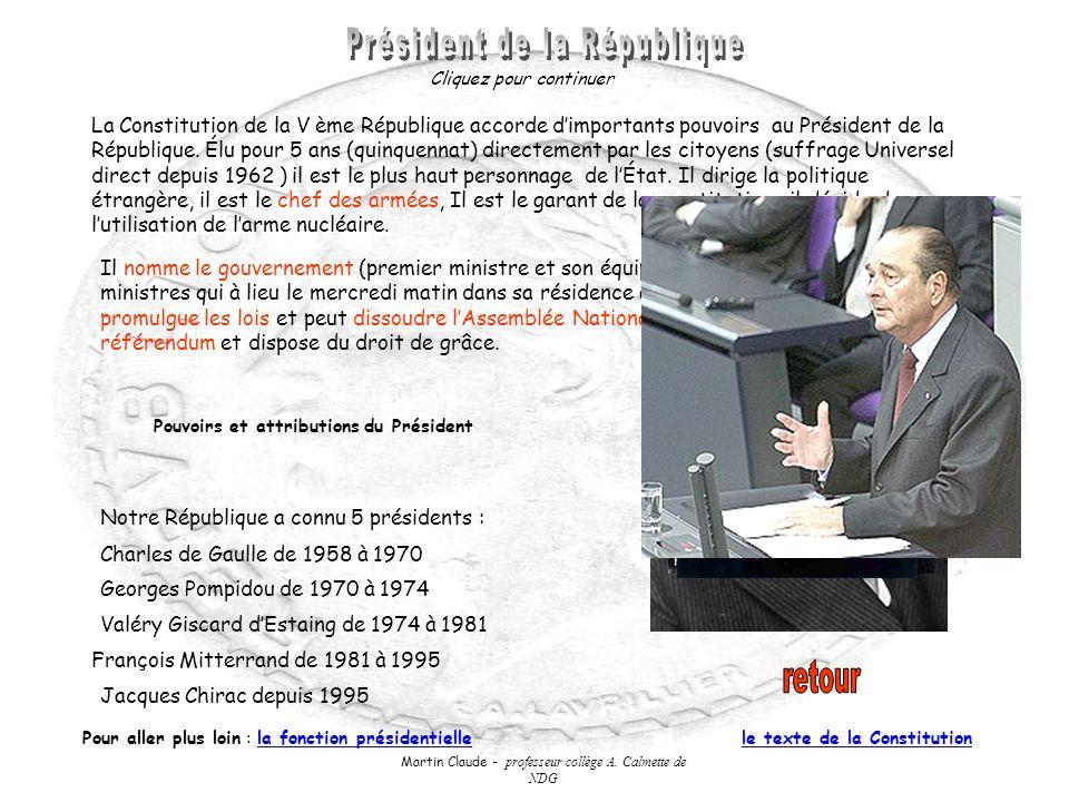 Martin Claude - professeur collège A. Calmette de NDG La Constitution de la V ème République accorde dimportants pouvoirs au Président de la Républiqu
