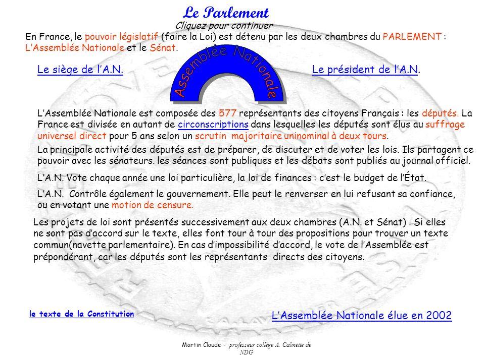 Martin Claude - professeur collège A. Calmette de NDG Le Parlement En France, le pouvoir législatif (faire la Loi) est détenu par les deux chambres du