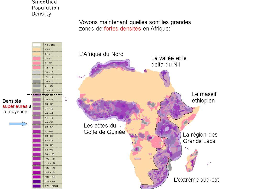 Densités inférieures à la moyenne Quelques exemples de pays de très faible densité : La Namibie, dans une région aride La Mauritanie, dans le désert du Sahara Le Gabon, dans la forêt équatoriale La Libye, sur le littoral méditerranéen 5 2,3 2,5 3 5 hab/km²