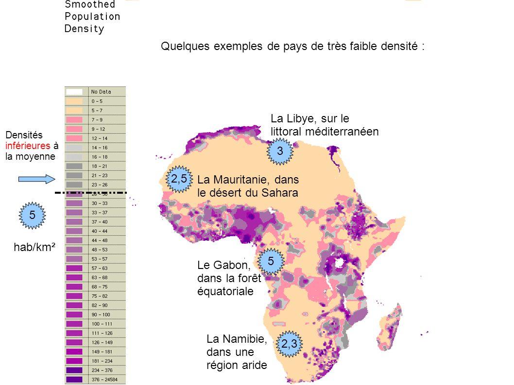Densités inférieures à la moyenne Quelques exemples de pays de très faible densité : La Namibie, dans une région aride La Mauritanie, dans le désert d