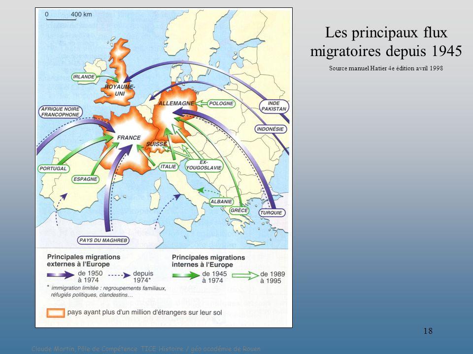 Claude Martin, Pôle de Compétence TICE Histoire / géo académie de Rouen 18 Les principaux flux migratoires depuis 1945 Source manuel Hatier 4e édition