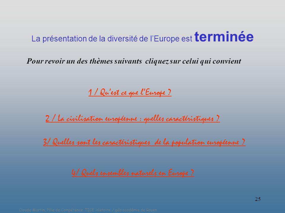 Claude Martin, Pôle de Compétence TICE Histoire / géo académie de Rouen 25 La présentation de la diversité de lEurope est terminée 1 / Quest ce que lE