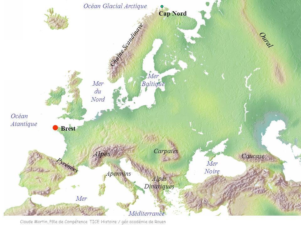 Claude Martin, Pôle de Compétence TICE Histoire / géo académie de Rouen 3 Océan Atantique Oural Mer Méditerranée Mer du Nord Mer Baltique Mer Noire Ch