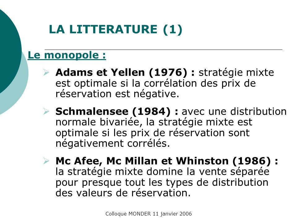 Colloque MONDER 11 janvier 2006 LA LITTERATURE (1) Le monopole : Adams et Yellen (1976) : stratégie mixte est optimale si la corrélation des prix de réservation est négative.