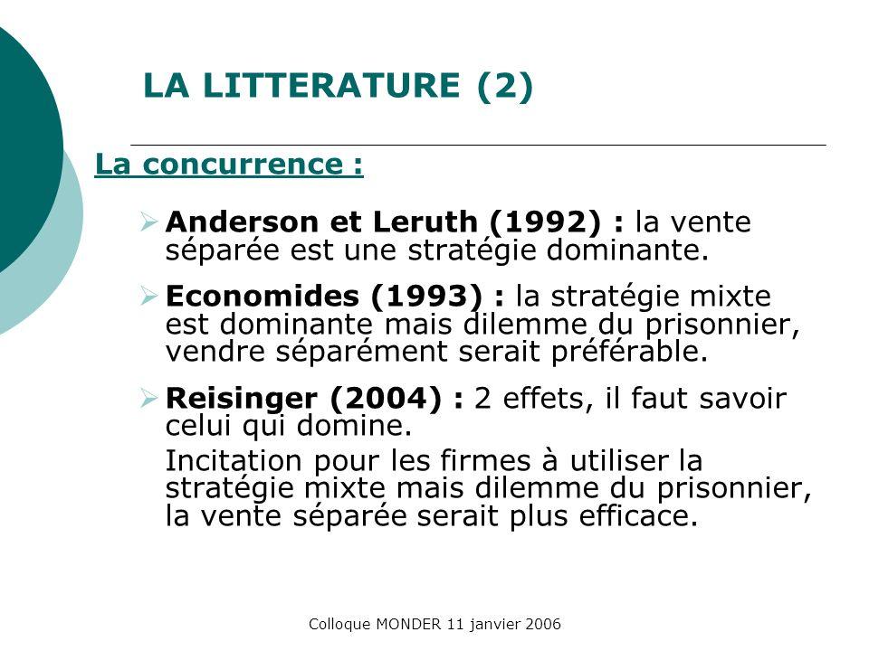Colloque MONDER 11 janvier 2006 LA LITTERATURE (2) La concurrence : Anderson et Leruth (1992) : la vente séparée est une stratégie dominante. Economid