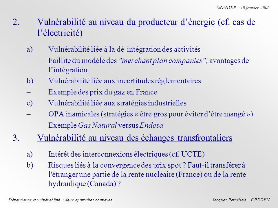 Jacques Percebois – CREDEN MONDER – 10 janvier 2006 Dépendance et vulnérabilité : deux approches connexes 2.Vulnérabilité au niveau du producteur dénergie (cf.