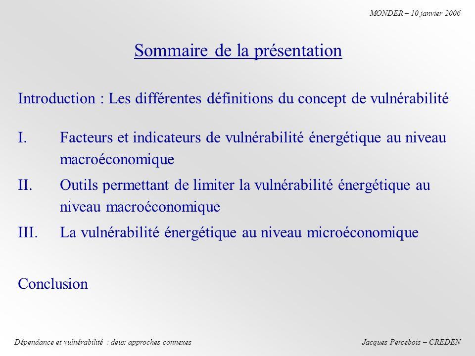 Jacques Percebois – CREDEN MONDER – 10 janvier 2006 Dépendance et vulnérabilité : deux approches connexes Hypothèses France D = 100, p = a Q avec a = ¼ doù p = 25 Italie D = 100, p = b Q avec b = ½ doù p = 50 CatégoriesAucune interconnexion (1) Marché unique avec Interconnexion sans Congestion (2) Interconnexion limitée A 10 (3) Consommateurs françaisP = 25 ; D = 100 Coût 2500 P = 33.33 ; D = 100 Coût 3333 P = 27.5 ; D = 100 Coût 2750 Consommateurs italiensP = 50, D = 100 Coût 5000 P = 33.33 ; D = 100 Coût 3333 P = 45 ; D = 100 Coût 4500 Producteurs françaisRecettes totales 2500 Recettes nationales 3333 recettes dexportation 1111 total : 4444 Recettes nationales 2750 recettes dexportation 450 total 3200 Producteurs italiensRecettes totales 5000 Recettes nationales 2222 (production nationale 66.66) Recettes nationales 4050 Rente à lexportation (surprofits) pour le producteur français - -450 – 275 = 175