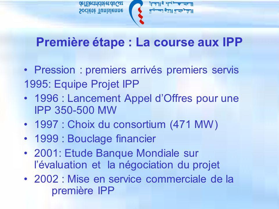 Première étape : La course aux IPP Pression : premiers arrivés premiers servis 1995: Equipe Projet IPP 1996 : Lancement Appel dOffres pour une IPP 350-500 MW 1997 : Choix du consortium (471 MW) 1999 : Bouclage financier 2001: Etude Banque Mondiale sur lévaluation et la négociation du projet 2002 : Mise en service commerciale de la première IPP