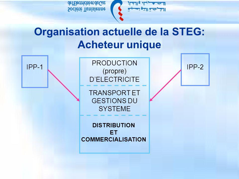 Organisation actuelle de la STEG: Acheteur unique PRODUCTION (propre) DELECTRICITE TRANSPORT ET GESTIONS DU SYSTEME DISTRIBUTION ET COMMERCIALISATION IPP-1IPP-2