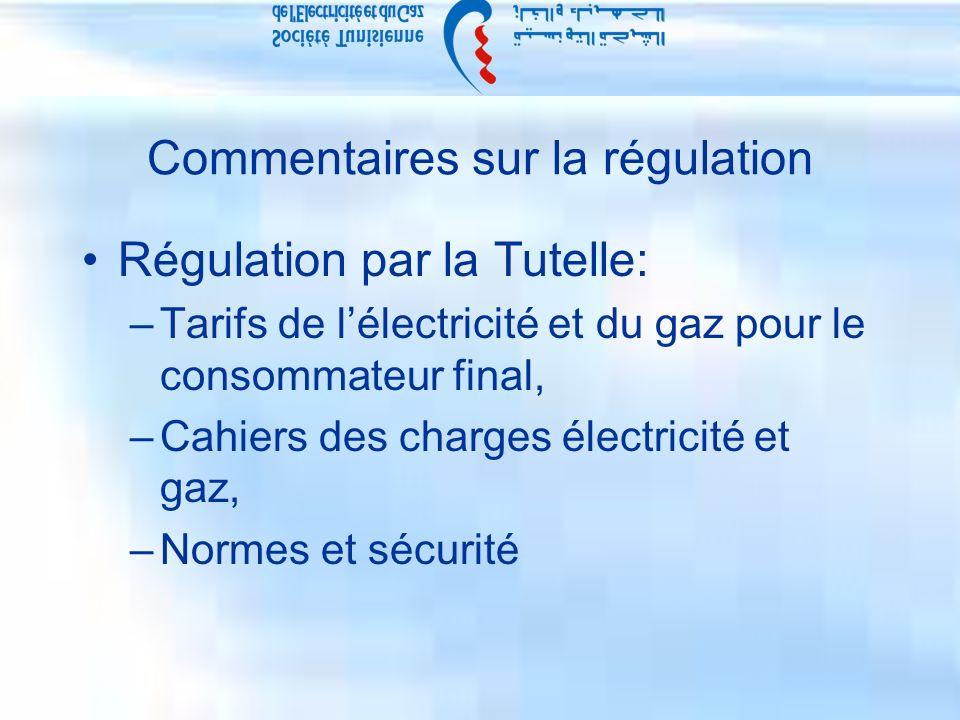 Commentaires sur la régulation Régulation par la Tutelle: –Tarifs de lélectricité et du gaz pour le consommateur final, –Cahiers des charges électricité et gaz, –Normes et sécurité