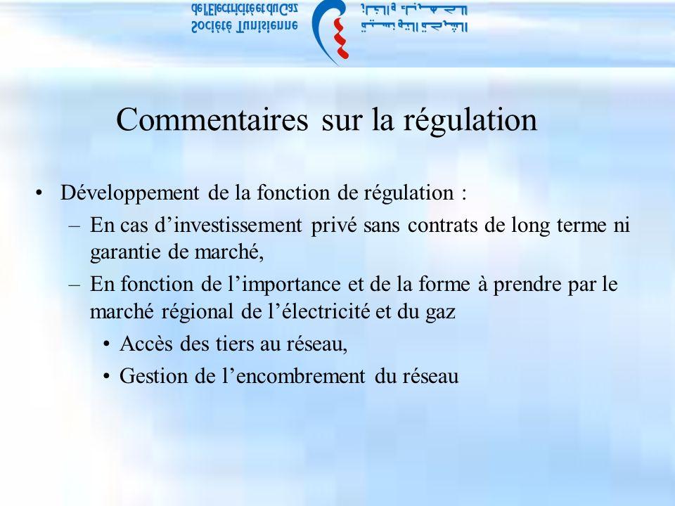 Commentaires sur la régulation Développement de la fonction de régulation : –En cas dinvestissement privé sans contrats de long terme ni garantie de marché, –En fonction de limportance et de la forme à prendre par le marché régional de lélectricité et du gaz Accès des tiers au réseau, Gestion de lencombrement du réseau