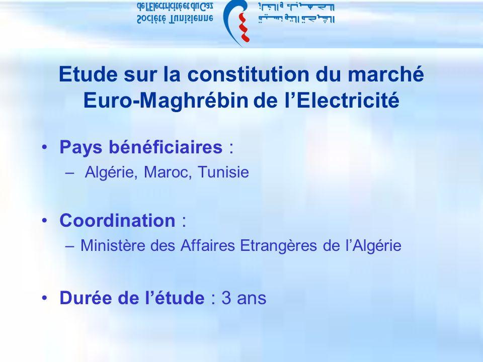 Etude sur la constitution du marché Euro-Maghrébin de lElectricité Pays bénéficiaires : – Algérie, Maroc, Tunisie Coordination : –Ministère des Affaires Etrangères de lAlgérie Durée de létude : 3 ans
