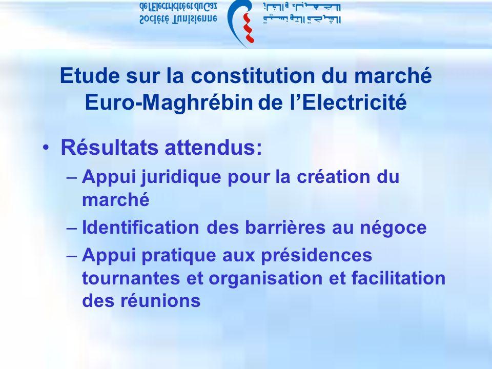 Etude sur la constitution du marché Euro-Maghrébin de lElectricité Résultats attendus: –Appui juridique pour la création du marché –Identification des barrières au négoce –Appui pratique aux présidences tournantes et organisation et facilitation des réunions
