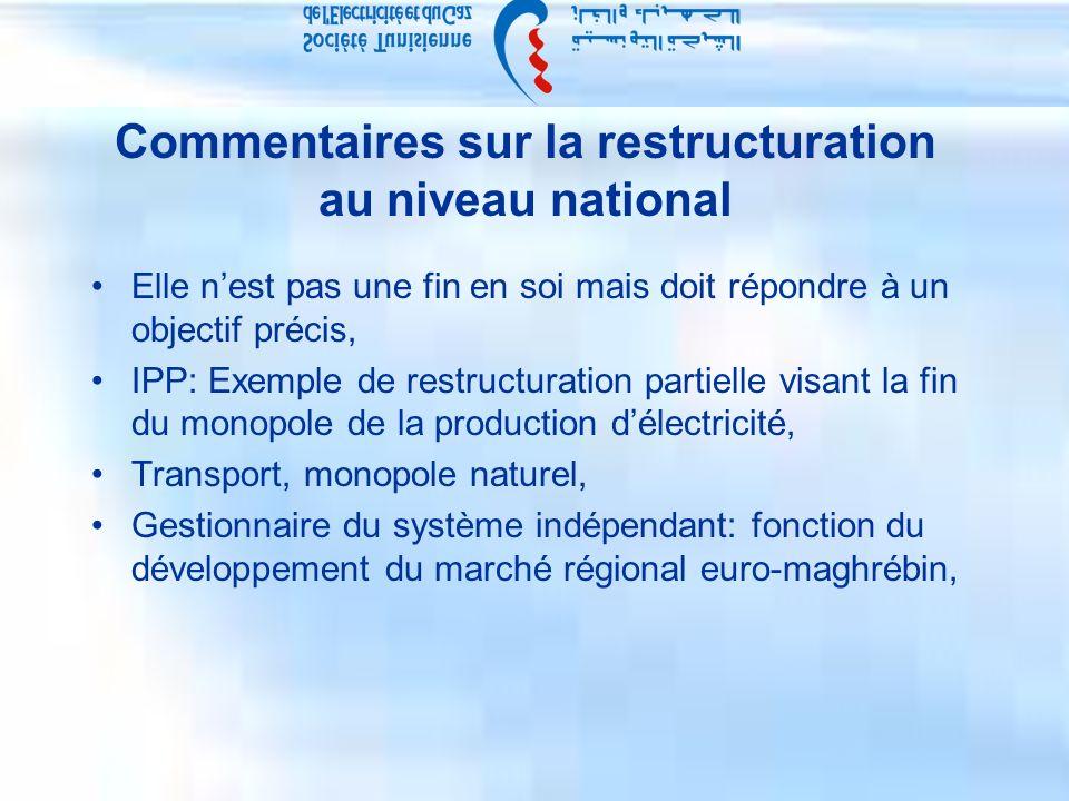 Commentaires sur la restructuration au niveau national Elle nest pas une fin en soi mais doit répondre à un objectif précis, IPP: Exemple de restructuration partielle visant la fin du monopole de la production délectricité, Transport, monopole naturel, Gestionnaire du système indépendant: fonction du développement du marché régional euro-maghrébin,
