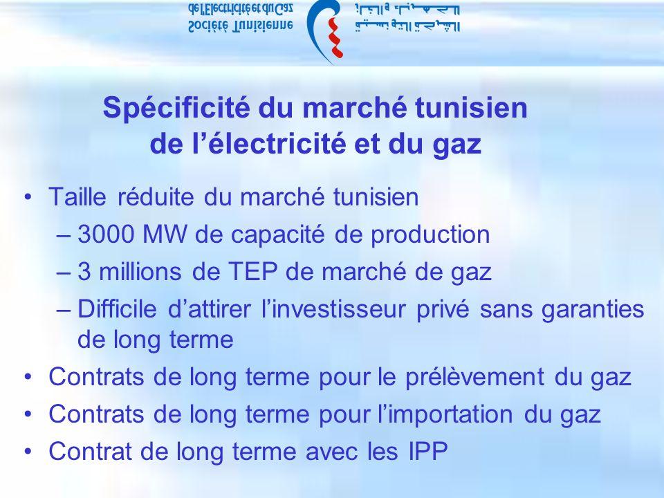 Spécificité du marché tunisien de lélectricité et du gaz Taille réduite du marché tunisien –3000 MW de capacité de production –3 millions de TEP de marché de gaz –Difficile dattirer linvestisseur privé sans garanties de long terme Contrats de long terme pour le prélèvement du gaz Contrats de long terme pour limportation du gaz Contrat de long terme avec les IPP