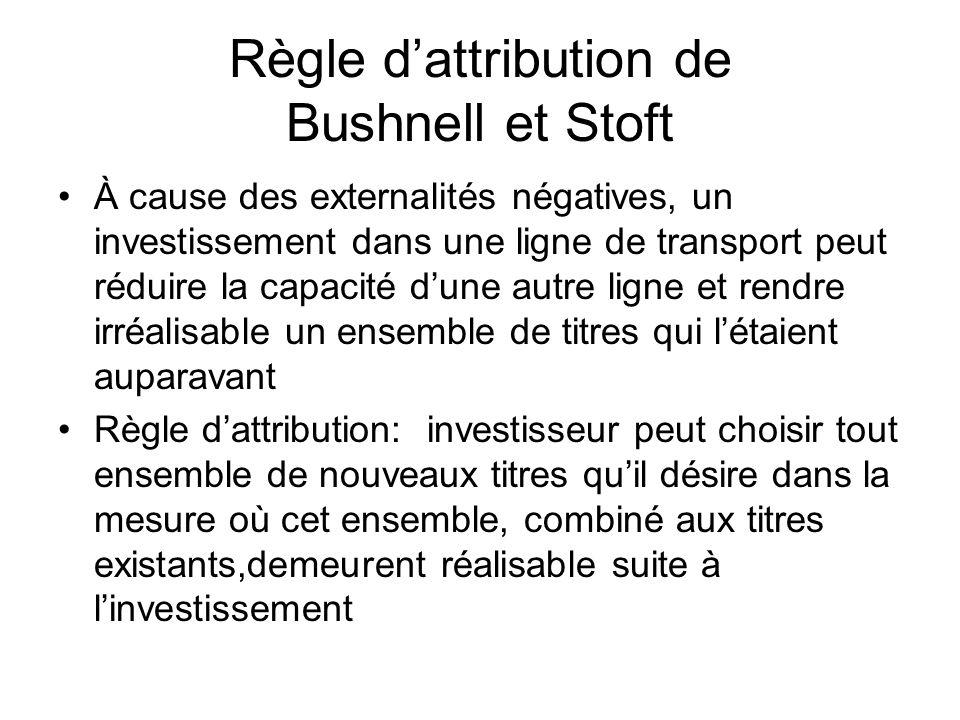 À cause des externalités négatives, un investissement dans une ligne de transport peut réduire la capacité dune autre ligne et rendre irréalisable un ensemble de titres qui létaient auparavant Règle dattribution: investisseur peut choisir tout ensemble de nouveaux titres quil désire dans la mesure où cet ensemble, combiné aux titres existants,demeurent réalisable suite à linvestissement Règle dattribution de Bushnell et Stoft