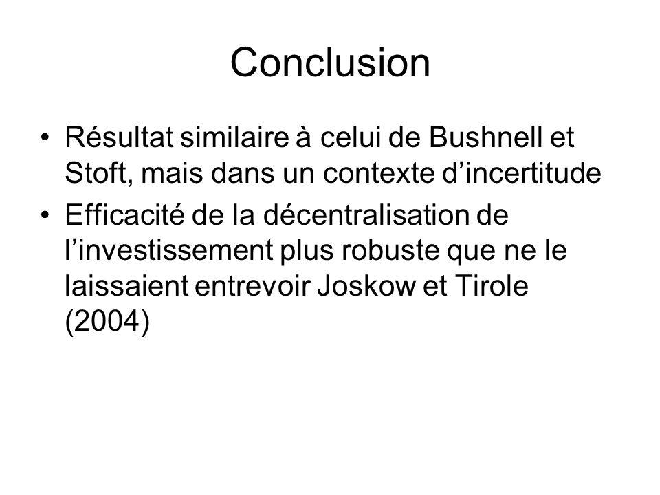 Conclusion Résultat similaire à celui de Bushnell et Stoft, mais dans un contexte dincertitude Efficacité de la décentralisation de linvestissement plus robuste que ne le laissaient entrevoir Joskow et Tirole (2004)