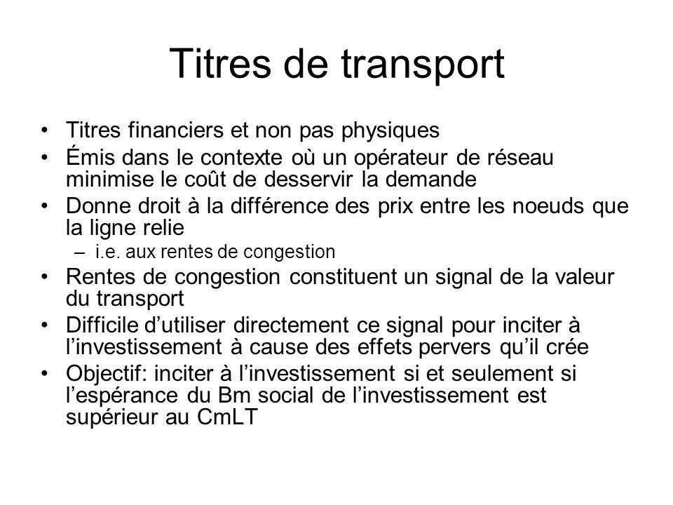 Exemple de Joskow et Tirole Bris possible dans le réseau Ligne qui na pas de valeur lorsque le réseau fonctionne normalement acquiert une grande valeur lorsquil y a bris ailleurs dans le réseau La règle de Bushnell et Stoft ne peut tenir compte de cela