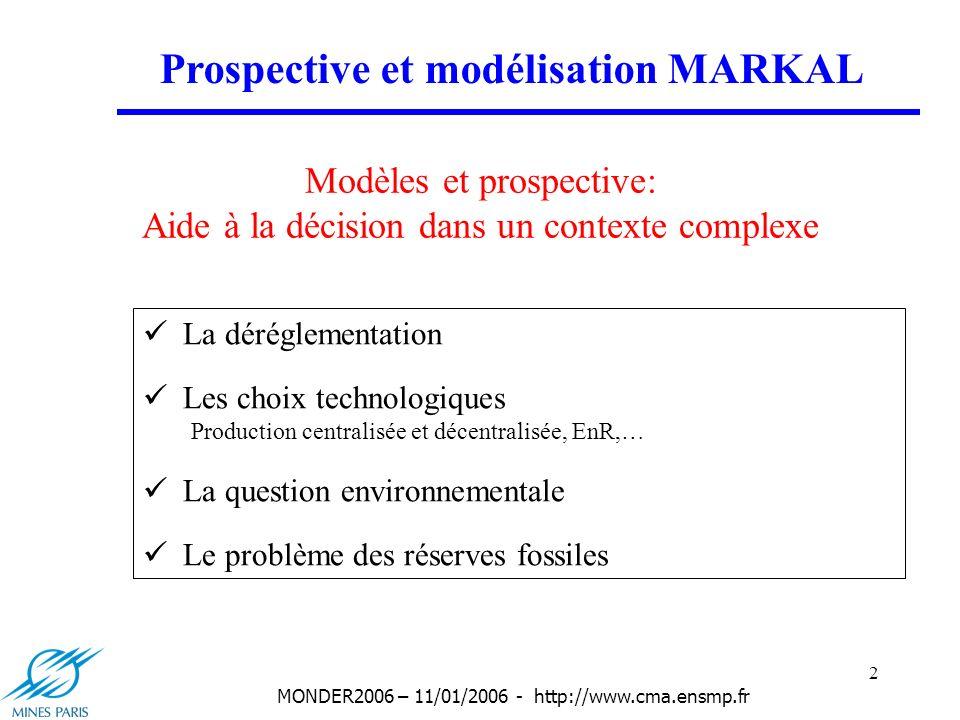 3 MONDER2006 – 11/01/2006 - http://www.cma.ensmp.fr Choix de MARKAL Base technologique très détaillée : Tant pour les technologies actuelles que pour celles du futur Impact environnemental explicite Communauté dutilisateurs dans le cadre de lETSAP Energy Technology Systems Analysis Programme de lAIE (depuis 1980) Prospective et modélisation MARKAL