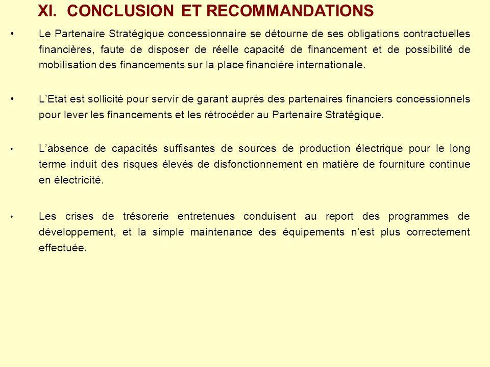 Le Partenaire Stratégique concessionnaire se détourne de ses obligations contractuelles financières, faute de disposer de réelle capacité de financeme