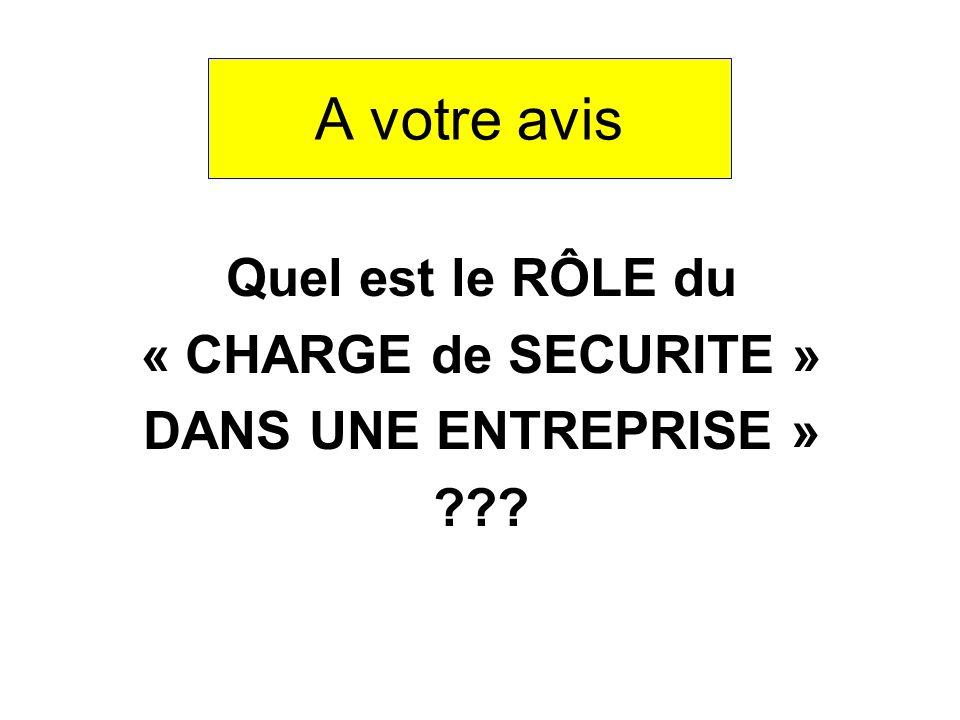 A votre avis Quel est le RÔLE du « CHARGE de SECURITE » DANS UNE ENTREPRISE »