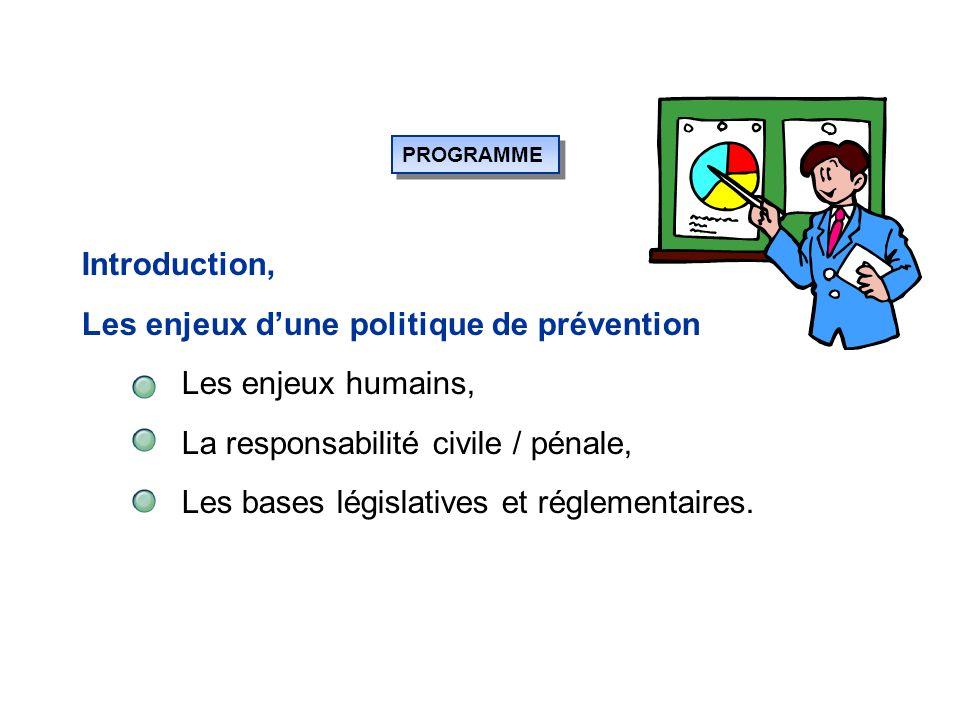 PROGRAMME Introduction, Les enjeux dune politique de prévention Les enjeux humains, La responsabilité civile / pénale, Les bases législatives et réglementaires.