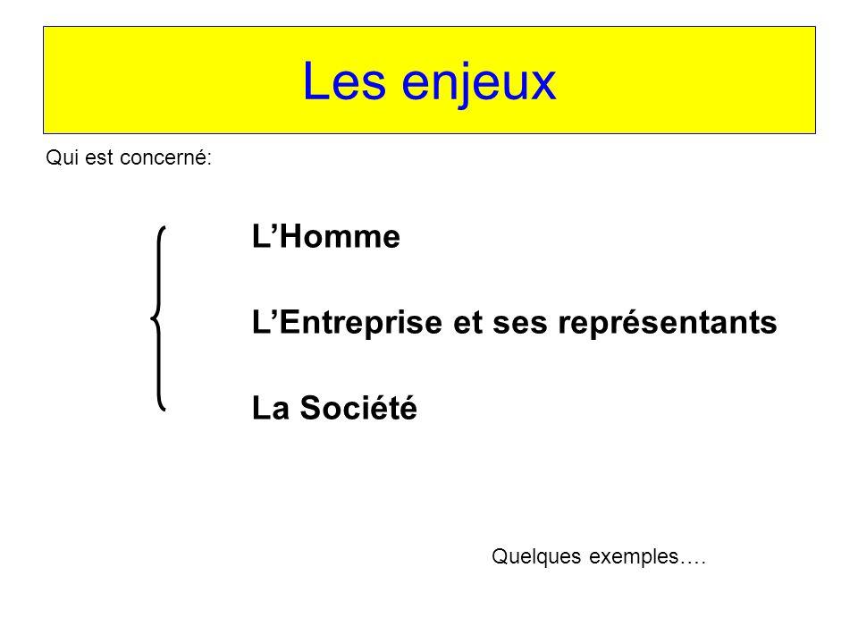 Les enjeux LHomme LEntreprise et ses représentants La Société Qui est concerné: Quelques exemples….