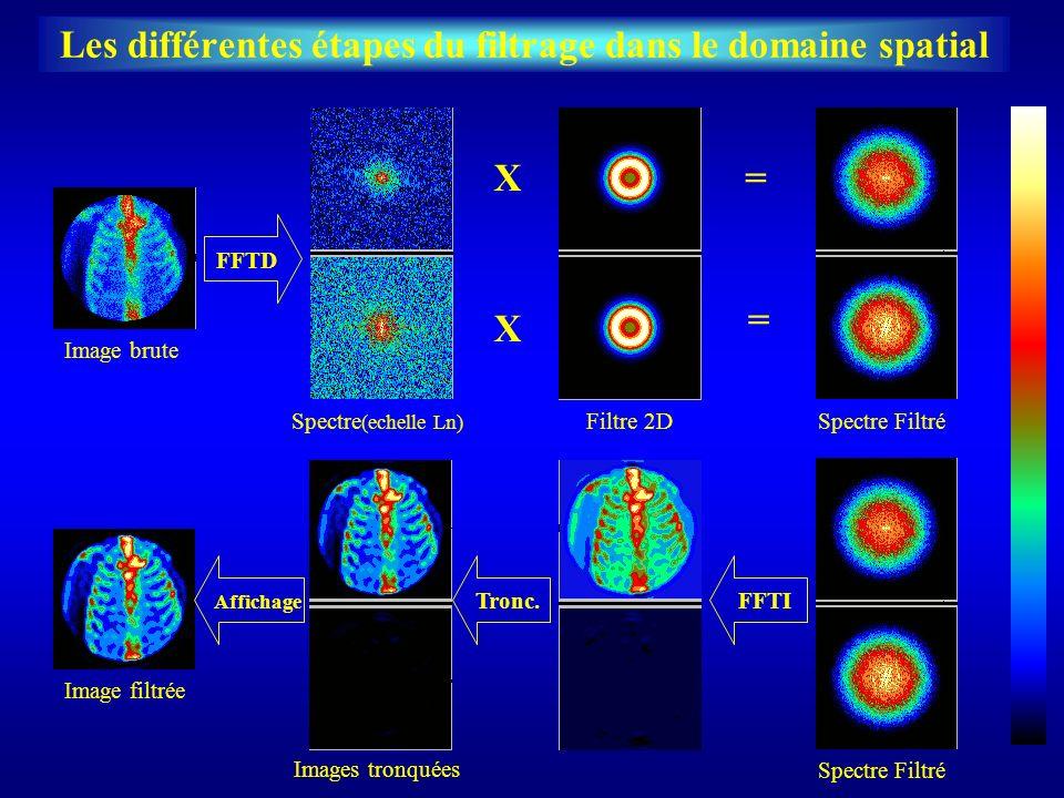 Les différentes étapes du filtrage dans le domaine spatial FFTD FFTITronc. Image bruteImage filtrée Spectre (echelle Ln) X X Filtre 2D = = Spectre Fil
