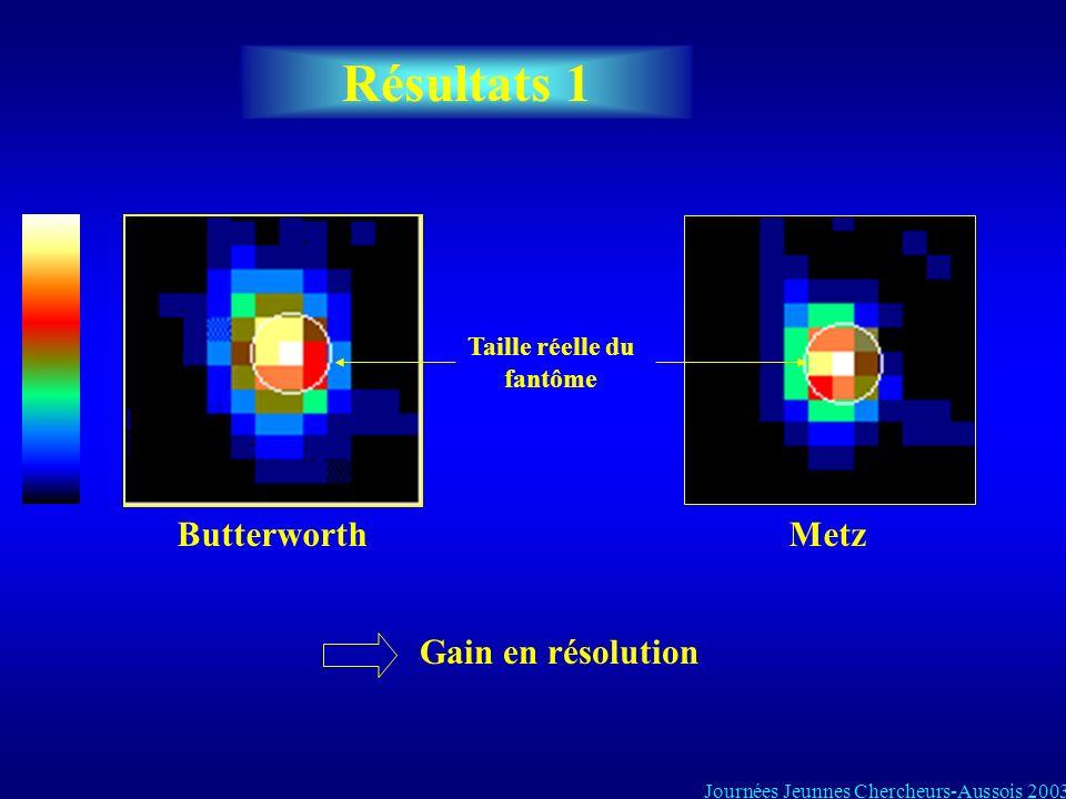 Résultats 1 Taille réelle du fantôme ButterworthMetz Gain en résolution Journées Jeunnes Chercheurs-Aussois 2003