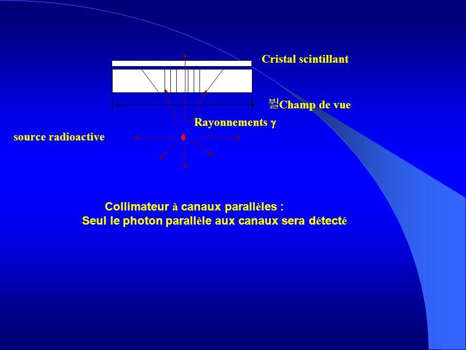Cristal scintillant Champ de vue Rayonnements source radioactive Collimateur à canaux parall è les : Seul le photon parall è le aux canaux sera d é te